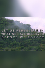 Let Us Persevere in What We Have Resolved Before We Forget